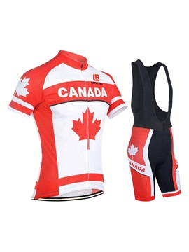 Polyester Canada Flag Men's Cycle Jersey And Bib Shorts