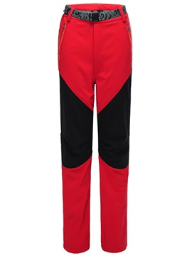 Elastic Contrast Color Windproof Fleece Outdoor Pant