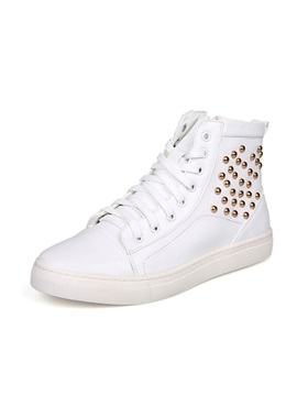 Rivets Studded Solid Color Martin Boots