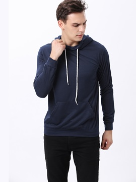 Kangaroo Pocket Solid Color Men's Hoodie with Hat