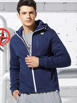 Zipper Pure Color Men's Causal Cotton Blends Hoodie