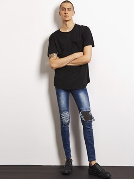 Pleated Holes Plain Straight Men's Slim Jeans