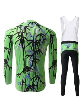 Green Bamboo-Print Cycle Jersey And Bib Pant