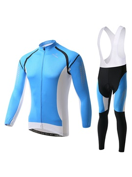 Blue Long-Sleeve Fleece Cycling Jersey And Bib Pant