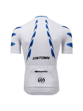 Polyester White Men's Quick-Drying Cycle Jersey