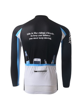 Letters-Print Long-Sleeve Men's Cycle Jersey