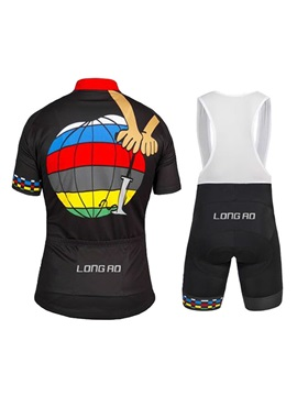 Polyester Colorblocked Road Cycling Jersey And Bib Shorts