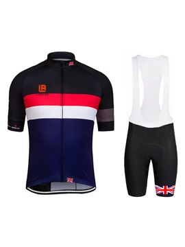Polyester Rear-Pocket Men's Bike Jersey And Bib Shorts