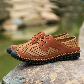 Mesh Thread Round Toe Lace-Up Casual Shoes