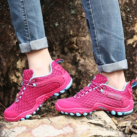 Breathable Mesh Lace-Up Outdoor Hiking Shoes for Women
