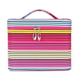 Colors Stripe Canvas Double Zipper Cosmetic and Storage Bag