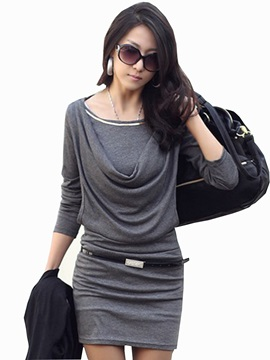 Cotton Long Sleeve Pleated Women's Bodycon Dress