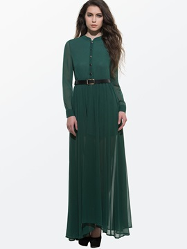 European Stand Collar Long Sleeve Maxi Dress