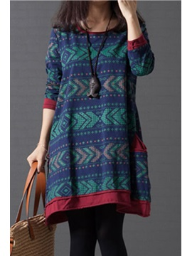New Color Block Print Pocket Casual Dress
