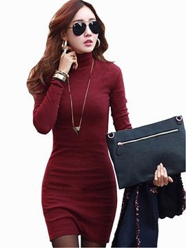 Solid Color Turtle Neck Women's Bodycon Dress