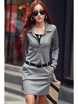 Solid Color Long Sleeve Women's Bodycon Dress With Belt
