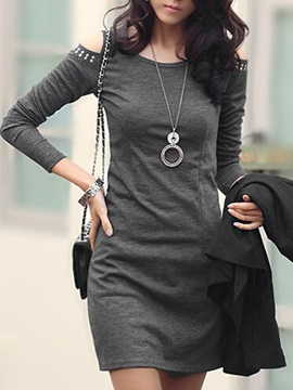 Solid Color Round-neck Sleeves Bodycon Dress