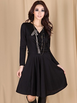 Pure Color Lace-Up Pleated Women's Day Dress