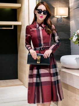 Chic Plaid Polo Neck Long Sleeve Women's Skater Dress