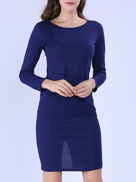 Solid Long Sleeve Falbala Work Bodycon Dress