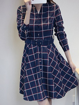 Plaid Long Sleeve Belt Skater Dress