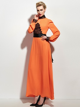 Contrast Color Long Sleeve Turtleneck  Dress