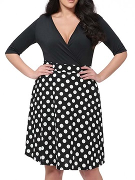 Patchwork Polka Dots V Neck Day Dress