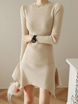 Asymmetric Solid Color Long Sleeve Sweater Dress