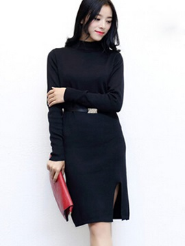 Solid Color Long Sleeve Split Sweater Dress