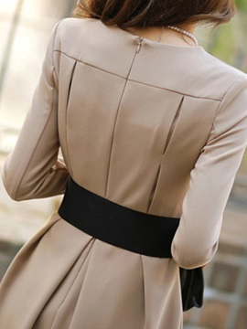 Chic Round Neck Long Sleeve Skater Dress