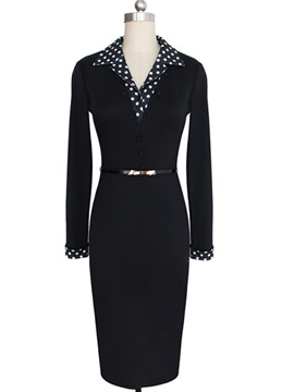 Polka Dots Patchwork Long Sleeve Work Bodycon Dress
