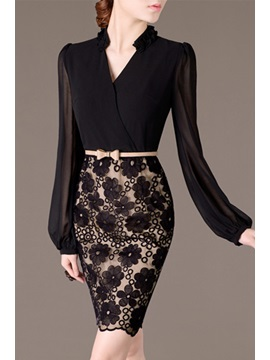 Patchwork Lantern Sleeve Appliques Bodycon Dress