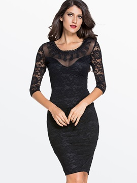 Backless Three-Quarter Sleeve Lace Dress