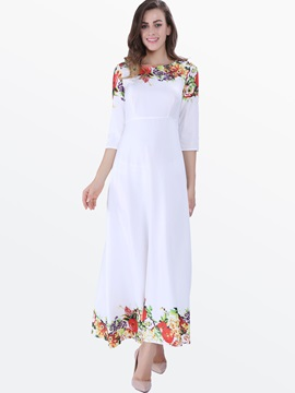 Print 3/4 Sleeve Pastoral  Dress
