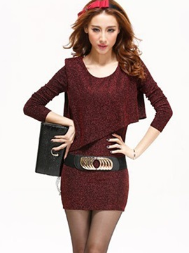 Long Sleeve Asymmetric Belt Work Dress