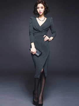 Slim Temperament Sexy V-neck Striped Dress