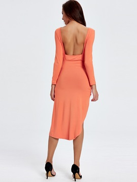 Sisjuly Backless Ruffled Asymmetric Long Sleeve Dress