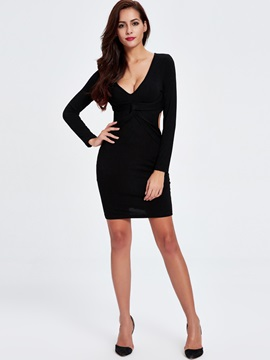 Sisjuly V-Neck Sexy Long Sleeve Dress
