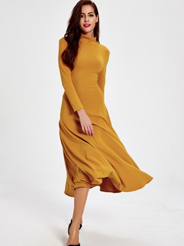 Sisjuly Turtleneck Backless Long Sleeve Dress