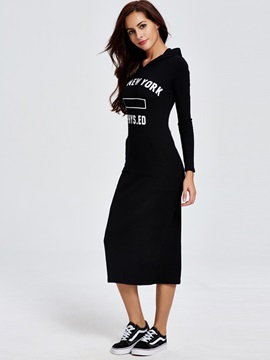 Hooded Letter Pocket Casual Long Sleeve Dress