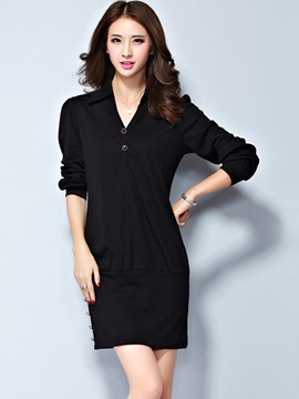 Black V-Neck Long Sleeve With Button Day Dress