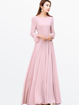 Solid Color Long Sleeve Expansion Maxi Dress