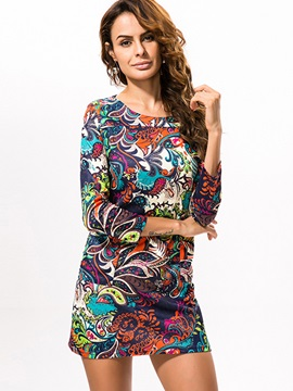 Floral Print Round Neck Long Sleeve Dress