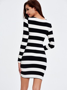 Vertical Striped Round Neck Hollow Long Sleeve Dress