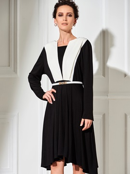 Color Block Chic Round Neck Belt Day Dress