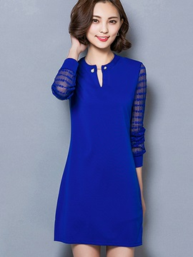 Solid Color Patchwork Long Sleeve Dress