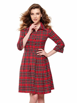 Plaid Lapel Nine Points Sleeve Day Dress