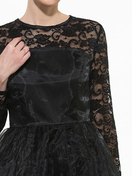 Round Neck Lace Mesh Layered Long Sleeve Dress