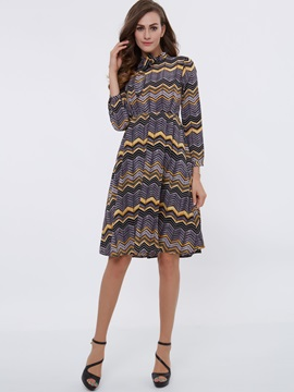 Wave-out Print Turtleneck Lace-Up Skater Dress