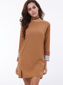 Round Neck Patchwork Split Day Dress